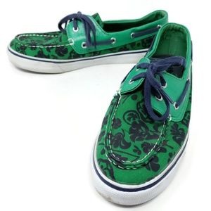 Sperry Top Sider Green Floral Deck Boat Shoes